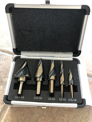 5PC Professional Cobalt Spiral Flute Step Drill Bit Set SAE Standard Industrial for Sale in Palmdale, CA