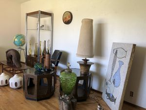 Mid Century Modern end tables, coffee table, art, lamps, globe, stool and more for Sale in San Francisco, CA