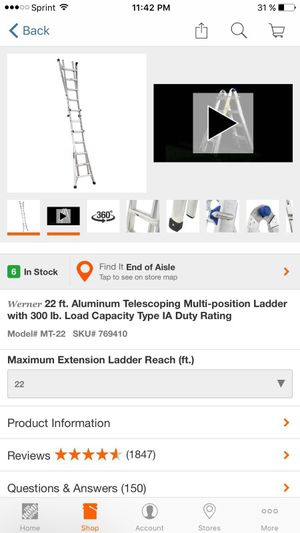 Telescoping multi-position ladder with 300lb 22 ft aluminium for Sale in Columbia, MD