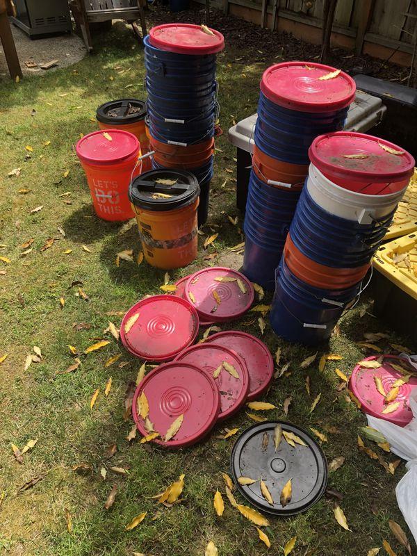 Power tools, 5 gallon buckets, painting supplies, shop vac etc.