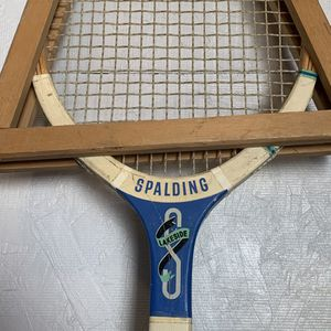 Vintage Spalding LAKESIDE Tennis Racket with Wood Press Man Cave Decor for Sale in San Bernardino, CA