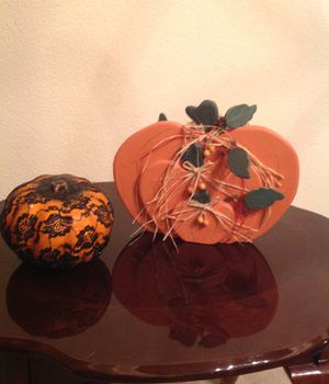 """Halloween decorative pumpkins. Pumpkin on right is 9"""" tall, double sided for Sale in Colorado Springs, CO"""