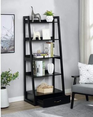 "64"" Black Wood 5-shelf Ladder Bookcase with Drawer for Sale in Ontario, CA"