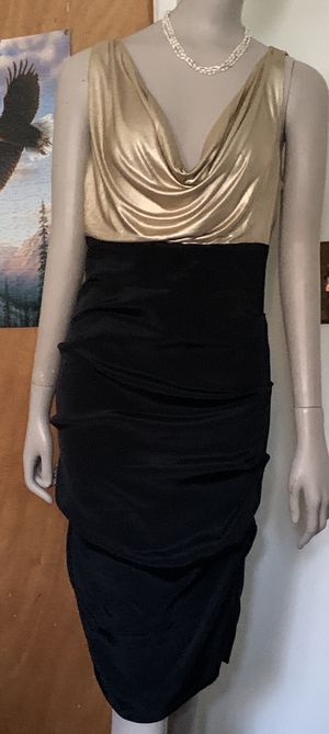 Nicole Miller Womens Dress Gold/Black Size 8 Zipper Closure and buttons Stretch for Sale in Mountain View, CA