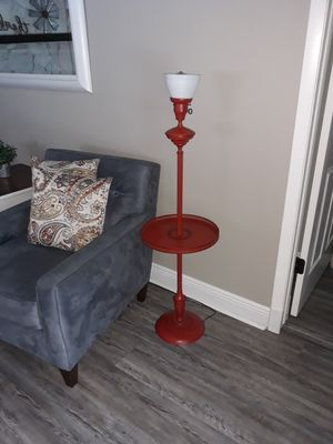 Antique vintage 1950's working pole lamp side table furniture home decor accent piece in bright red for Sale in Seminole, FL
