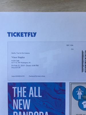 Vince Staples Ticket at 9:30 Club DC on Friday, Feb 22nd for Sale in Washington, DC