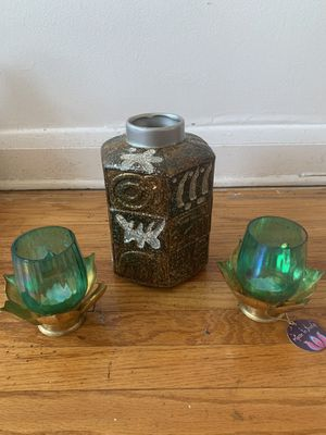 Hand crafted vase / candle holder set for Sale in Baltimore, MD