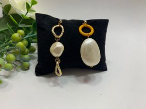 Gold Plated Asymmetrical Long Matte Metal Drop Baroque Earring, Yellow for Sale in Irvine, CA