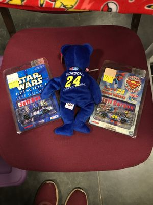 Jeff Gordon Ty beanie baby plus two Action collector cars Star Wars and Superman for Sale in Kannapolis, NC