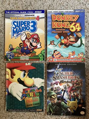 Nintendo Strategy Guides for Mario 64, Donkey Kong 64, Super Mario 3, and Smash Brawl for Sale in Hillsboro, OR