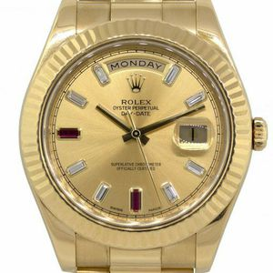 Rolex Presidential 18kt Fluted Bezel Yellow Gold 41mm Day Date II Factory Ruby and Diamond Dial Watch for Sale in Boca Raton, FL