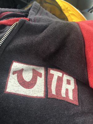 True Religion Signage Raglan Hoodie Sweat Jacket-Charcoal/Red -Mens M for Sale in Germantown, MD