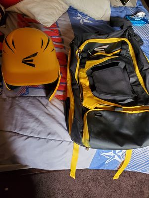 Easton Yellow Baseball helmet with face guard and Easton baseball bat backpack for Sale in Covina, CA