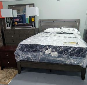 Gray Queen bed with dresser and mirror. for Sale in Lexington, NC