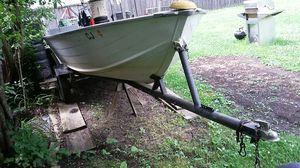 14' aluminum boat & trailer any motor(Mercury honda nissan Toyota Suzuki ) no title for Sale in Hoffman Estates, IL
