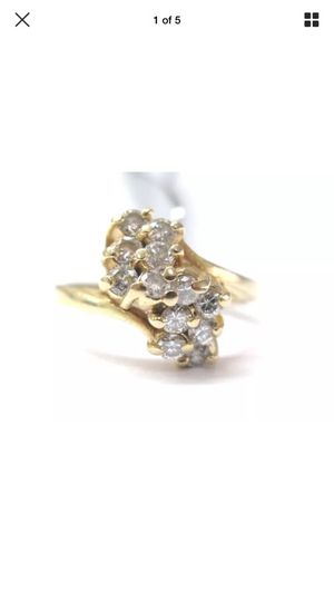 Fine cluster diamond waterfall Jewelry ring 14kt 0.70ct for Sale in Los Angeles, CA