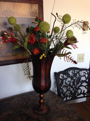 TWO METAL VASES WITH FLOWERS for Sale in San Diego, CA