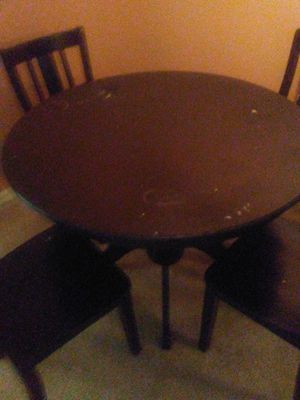 Wood Top Circular Table Black w Four Chairs for Sale in West Palm Beach, FL