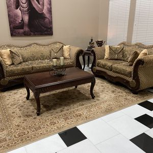 Beautiful Excellent Condition 2 PC Sofa Set with Center Table & Side Table & Rug included for Sale in Silverado, CA