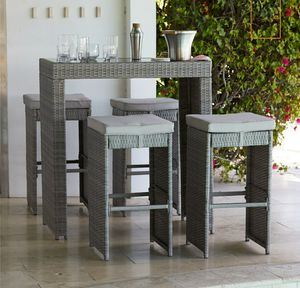 Elegant Grey Rattan 5 Piece Outdoor Bar Set for Sale in Hidden Hills, CA