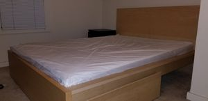 ikea queen bedframe with 2 storage boxes, and mattress for Sale in Los Angeles, CA