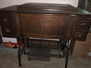 Old sewing table antique pedal pushed for Sale in Burien, WA
