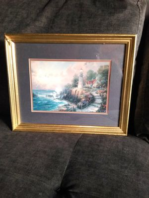 Thomas Kinkade LIGHT HOUSE print with frame for Sale in Port Neches, TX