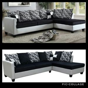 Black/Silver Micro Fiber Sectional for Sale in Atlanta, GA