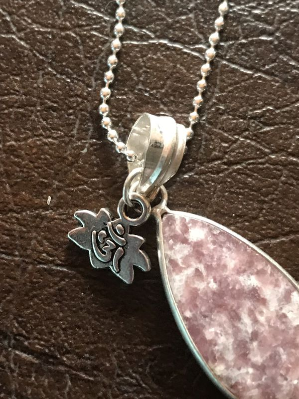 Healing LEPIDOLITE Crystal Necklace with LOTUS charm ***NEW***