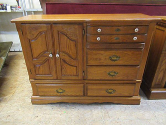 Vintage Tiger Oak Tallboy Dresser / Gentleman's Chest - Delivery Available for Sale in Tacoma,  WA