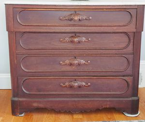 Antique 4 drawer dresser with marble top for Sale in Weston, MA