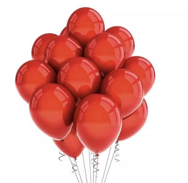 One dozen Metallic Red balloons with helium
