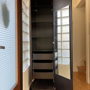 Tall Brown Ikea Wardrobe Glass Shelves And Drawers for Sale in Oakland, CA