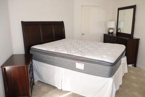 Queen Bedroom Set - Dark Walnut Wood -Sleigh Headboard, 2 nightstands, Dresser with Mirror, Mattress, Boxspring for Sale in San Diego, CA