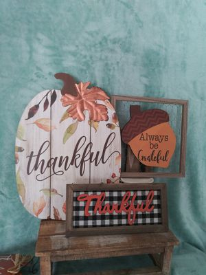 Fall decorations thankful pumpkin sign, plaid thankful & more. Great for fall decor, Thanksgiving decor, front doors, farmhouse decor and more. for Sale in Colton, CA