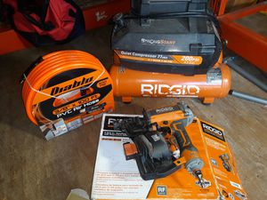 Ridgid 4.5 gal compressor and roofing nailer for Sale in San Antonio, TX