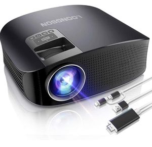 Projector,LoongSon Portable Video Projector Full HD 1080P Supported for Home Theater Movie Projector with 30,000 Hours LED, Compatible with TV Stick, for Sale in Diamond Bar, CA