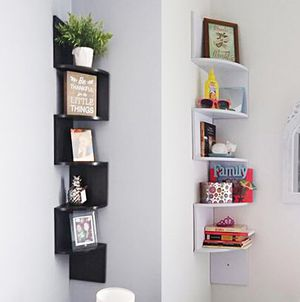 "New $20 each (Black or White) Corner 5-Tiers Wall Mount Zig Zag Wood Shelf Home Furniture 8""x8""x48"" for Sale in Whittier, CA"