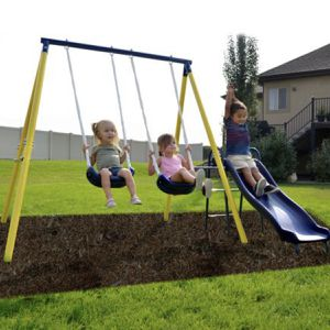 Fast n Free Shipping - Metal Swing Set with 5ft Heavy Duty Slide and Two Swings for Sale in San Diego, CA