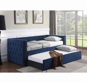 Navy Blue Daybed with trundle ( new ) for Sale in Hayward, CA