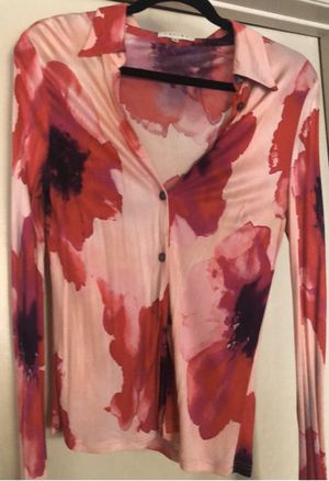 Céline Classic Shirt with Watercolor Poppy Prints Made in France for Sale in Rancho Palos Verdes, CA