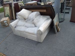 Big and small white leather and suede couches for Sale in San Jose, CA