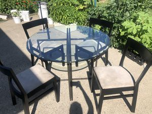 Glass dining table with lux velvet chairs for Sale in Lyndhurst, NJ