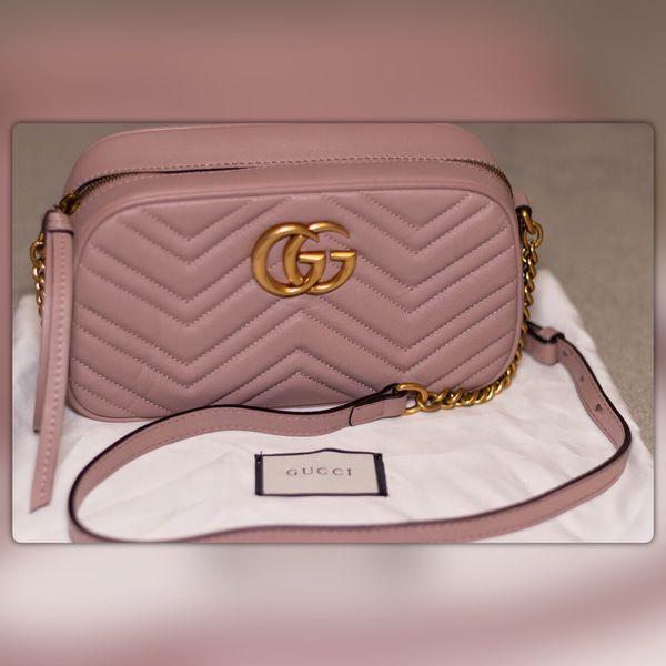 3d5853411c6 Authentic Gucci GG Marmont small matelassé shoulder bag Dusty Pink ...