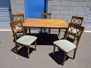 Solid wood table with built in leaf and 5 chairs for Sale in Palmdale, CA