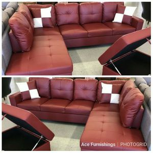 Brand New Red Leather Sectional With Storage Ottoman for Sale in Orting, WA