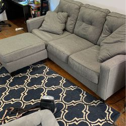 Ashley Grey Couch and Loveseat with ottoman for Sale in Chicago,  IL
