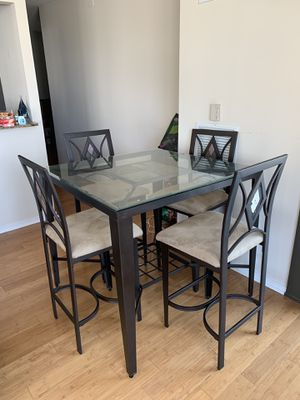 Dining Table with Four Suede Chairs for Sale in Chicago, IL