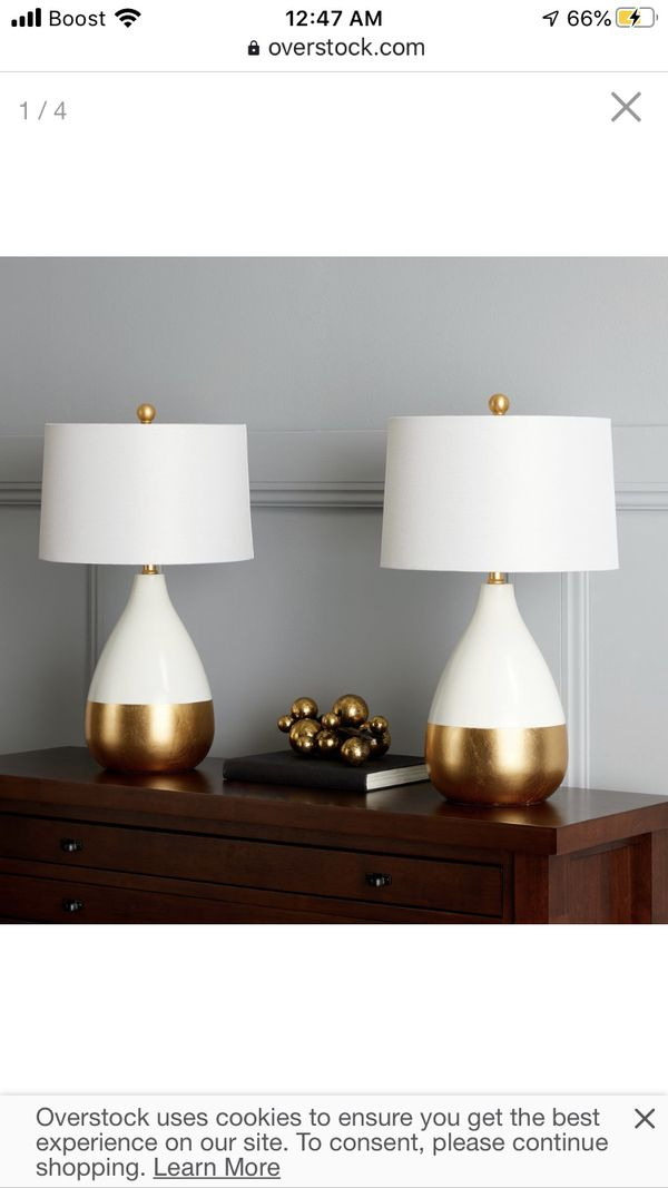 """Safavieh Lighting 24-inch Kingship White/ Gold Lacquer Glam LED Table Lamp (Set of 2) - 14""""x14""""x24"""""""