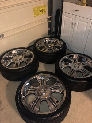 I have a set of tires and chrome rims size 255/35ZR20 tires are brand new the rims are in decent shape 5 lugs universal I am asking $650 or best off for Sale in San Bruno, CA